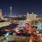 """San Antonio Skyline with Moon"" by eyeates"
