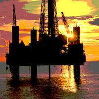 Dramatic Offshore Drilling Rig-Sunset-Oilfield