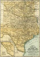 Oklahoma and Texas Antique Map 1891