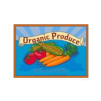Organic Produce Crop Harvest Label Watercolor