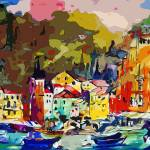"""Portofino Italy Modern Mixed Media Art"" by GinetteCallaway"