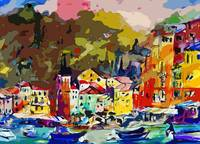 Portofino Italy Modern Mixed Media Art