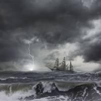 Lightning-ship-Storm Art Prints & Posters by john lund