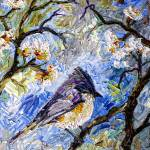 """Impressionism Bird in Spring blossom Tree"" by GinetteCallaway"