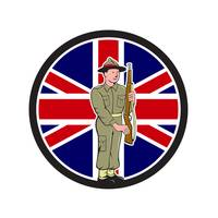 British World War II Soldier Union Jack Flag Carto