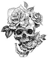 ink skull and roses