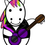 """Unicorn Kawaii Punk Guitarist"" by ValeriesGallery"