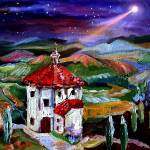 """Chapel In Tuscany Oil Painting by Ginette"" by GinetteCallaway"