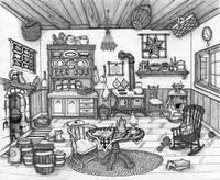 PEN AND INK COUNTRY KITCHEN