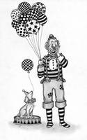 PEN AND INK CLOWN WITH BALLOONS