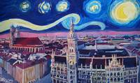 Starry Night In Munich - Van Gogh Inspirations wit