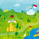 """Illustrated Map of North Carolina by Nate Padavick"" by TheyDrawandCook"