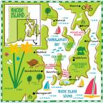 """Illustrated Map of Rhode Island by Nate Padavick"" by TheyDrawandCook"