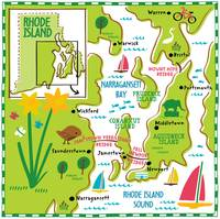 Illustrated Map of Rhode Island by Nate Padavick