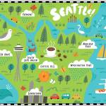 """Illustrated Map of Seattle by Nate Padavick"" by TheyDrawandCook"