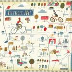"""Illustrated Map of Detroit by Nate Padavick"" by TheyDrawandCook"