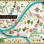"""Illustrated Map of Pittsburgh by Nate Padavick"" by TheyDrawandCook"