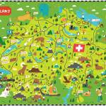 """Illustrated Map of Switzerland by Nate Padavick"" by TheyDrawandCook"