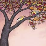 """cedar waxwings on the stained glass tree"" by sarahkdesigns"