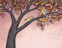 cedar waxwings on the stained glass tree