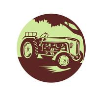 Vintage Farm Tractor Circle Woodcut