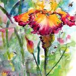 """Bearded Iris and Bees Whimsical Watercolor"" by GinetteCallaway"