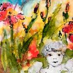 """Angel In The Garden Watercolor and Ink"" by GinetteCallaway"