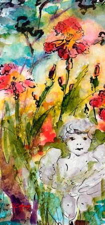 Angel In The Garden Watercolor and Ink
