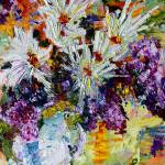 """Chrysanthemums and Lilac Oil Painting Still Life"" by GinetteCallaway"