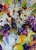 Chrysanthemums and Lilac Oil Painting Still Life