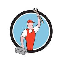 Mechanic Wrench Toolbox Circle Cartoon