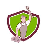 Mechanic Wrench Toolbox Crest Cartoon
