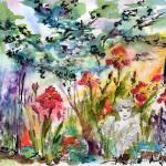 """Angel Garden Summer Flowers Watercolor"" by GinetteCallaway"