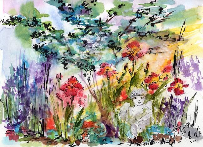 Angel Garden Summer Flowers Watercolor by Ginette Callaway
