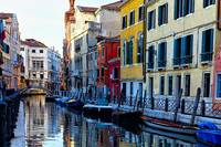 Colorful Houses Along a Canal Santa Croce, Venice