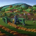"""""""Farmer John Deere Tractor Baling Hay Landscape"""" by walt-curlee"""