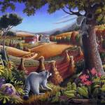 """Raccoon Squirrel Rural Country Folk Art Landscape"" by walt-curlee"