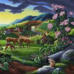"""Deer Meadow Rural Country Farm Folk Art Landscape"" by walt-curlee"