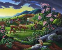 Deer Meadow Rural Country Farm Folk Art Landscape