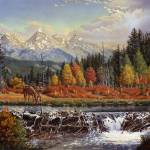 """Mountain Man Trapper Western Mountain Landscape"" by walt-curlee"