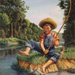"""Boy Fishing River Appalachian Country Landscape"" by walt-curlee"