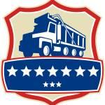 """Triple Axle Dump Truck Stars Crest Retro"" by patrimonio"