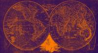 World Map (1811) Purple & Orange