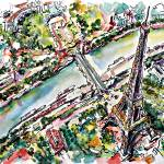 """Eiffel Tower Paris Aerial View Watercolor"" by GinetteCallaway"