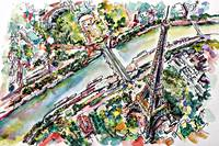Eiffel Tower Paris Aerial View Watercolor