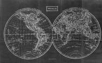 Vintage Map of The World (1857) Black & White