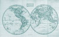 Vintage Map of The World (1857) White & Dark Green
