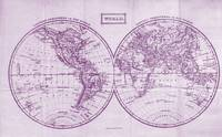 Vintage Map of The World (1857) White & Purple