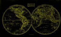 Vintage Map of The World (1857) Black & Yellow