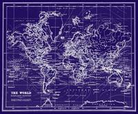 World Map (1899) Blue & White